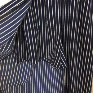 f7ce568ea0a5 hyfve Pants - Hyfve Striped Maxi Romper navy white hi low hem